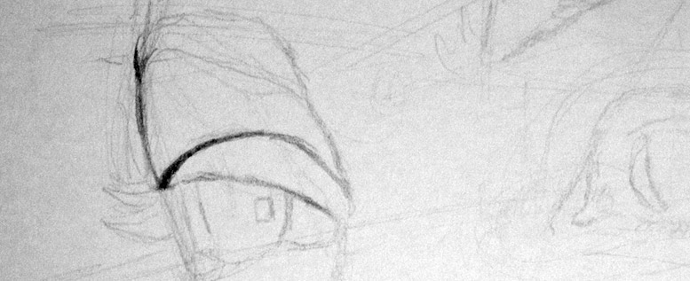 Early stages of drawing: right eye