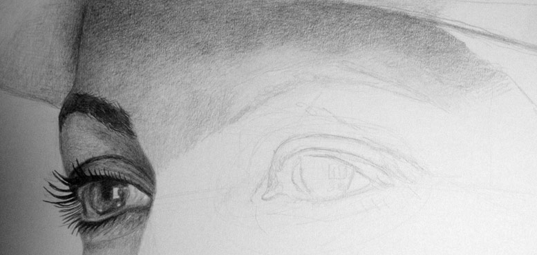 Photorealistic shading over the eyebrow.