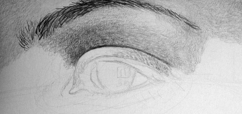 Dig hard with the 4h pencil to prepare the shading of the eyelid